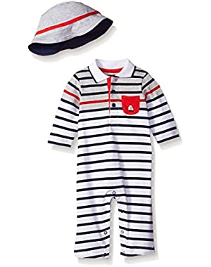 Baby Boys' Stripe Coverall and Hat