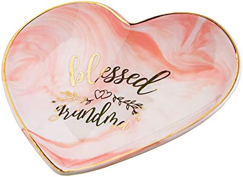 VILIGHT Blessed Grandma Gifts for Grandmother Jewelry Tray – Pink Marble Heart Ceramic Candy Dish 5.5 Inches