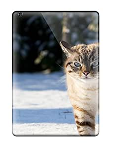 Ipad Air Hard Back With Bumper Silicone Gel Tpu Case Cover Cat Trudging On Snow Animal Cat