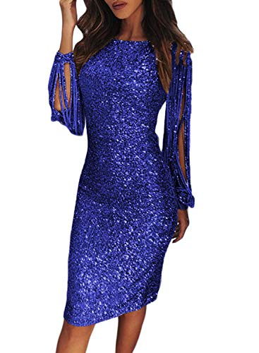 (Elapsy Womens Ladies Sexy Sequins Tassel Long Sleeve Homecoming Round Neck Slim Fit Party Cocktail Dress Blue Small)