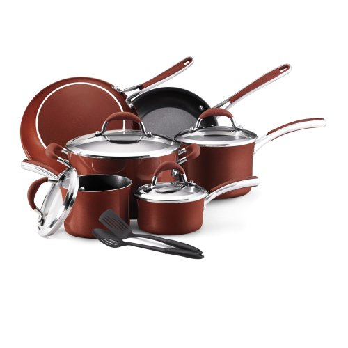 Farberware Affiniti 12-Piece Cookware Set, Red