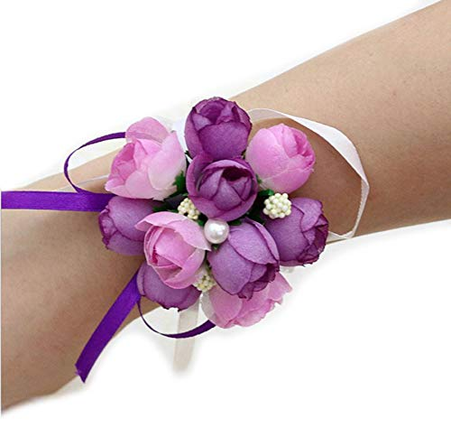 (Charmly 4 Pack Wrist Flower Wrist Corsage Hand Flower for Bride Bridesmaid Party Prom Purple)