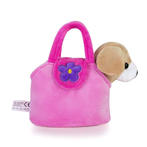 Lazada Girls' Plush Puppy Purse with Carrying Bag Toy Yellow Dog 7
