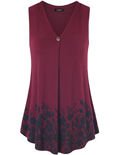Laksmi Tunic Tops for Leggings for Women, Womens Sleeveless Pleated V Neck A Line Casual Workout Tank Tops,Wine X-Large