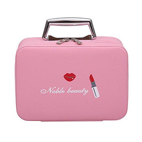 DDLBiz Women Girls Cat Cute Portable Travel Suitcase Makeup Bag Makeup Mini Makeup Train Case Zipper Storage (D) by DDLBiz