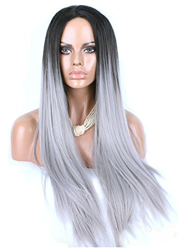 Anogol® Ombre Grey Bodywave Synthetic Lace Front Wig Glueless Heat Resistant Hair Gray Wigs 24inches DM-399