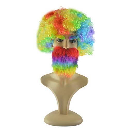 Fansport Halloween Costume Prop Set Novelty Party Fake Mustache with Fake Eyebrow & Wig -