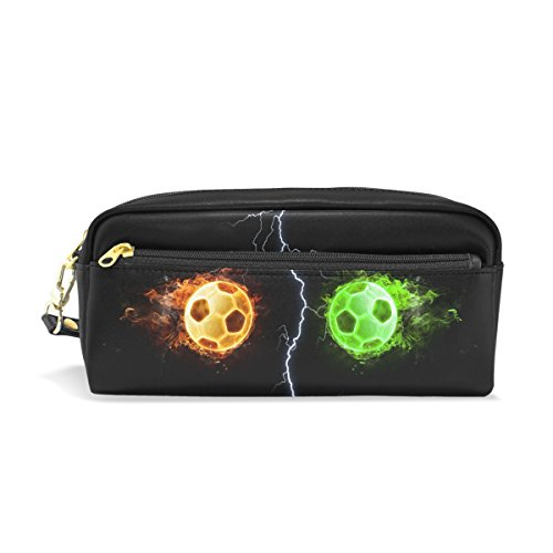 LEISISI Confrontation of Two Footballs School Pencil Bag PU Leather Stationery Pouch Case Women Cosmetic Bag Large Capacity