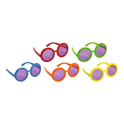 Amscan Groovy 60's Party Assorted Colors 60's Sunglasses (10 Pack), Multi Color, 13 x 6.4