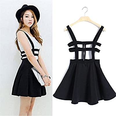 Pretty Back Women A-Line Skirt Overall Pleated Suspender Skirt Braces Hollow Out Bandage Mini Skater Skirt