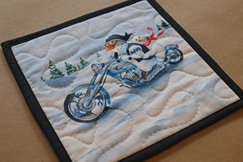 Snowman Chopper Motorcycle Mug Rug, Snack Mat, Quilted Trivet, Handmade Table Linens, Holiday Home Decor, Winter Table Linens, Blue Chopper, Motorcycle Biker Dude, Harley Vest Gifts Under 10 ()