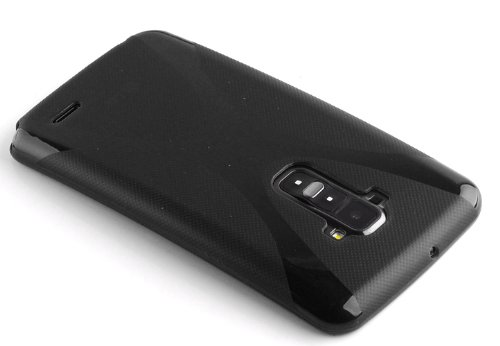 Cadorabo - LG G-FLEX Cubierta protectora de silicona TPU en diseño X-Line - Case Cover Funda Carcasa Protección en ÓXIDO-NEGRO ÓXIDO-NEGRO