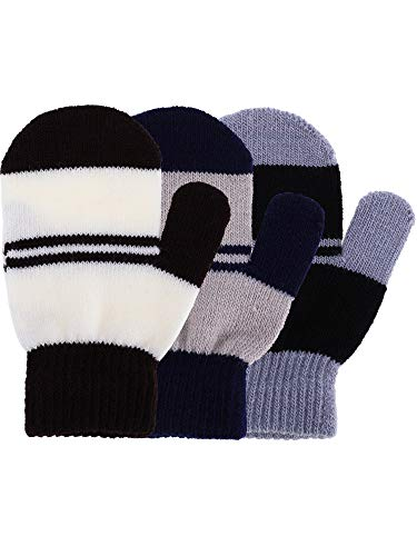 Satinior 3 Pairs Toddler Magic Stretch Mittens Little Girls Soft Knit Mitten Baby Boys Winter Knitted Gloves (1-4 Years Size, Multicolor 15)
