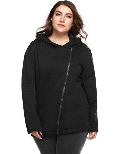 INVOLAND Plus Size Hoodie For Women Inclined Zipper Thermal Fashion Hoodie Jacket With Hooded