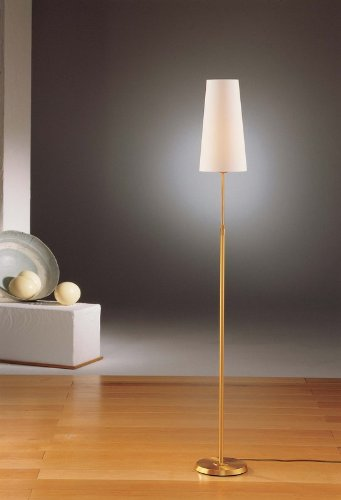 Adjustable Shaded Floor Lamp - Holtkoetter 6354 AB SWN Incandescent Shaded Floor Lamp, Antique Brass with Satin White Narrow Shade