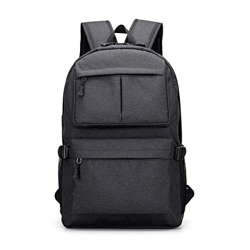 School Bag Black Backpack Women Fit Charging Men Laptop Large TOOGOO Gray Oxford 6 with Laptop Port 15 for Capacity Computer Travel USB Inch Cloth wgatEqU