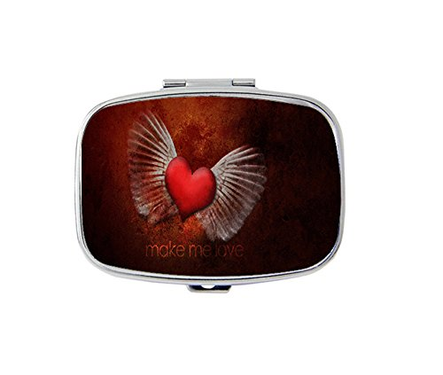 Angel wings and heart Rectangular pill box/pill case-• 2 Compartments for Keeping Pills Separate pill box/pill case