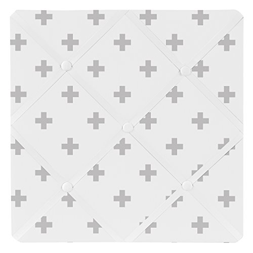 Sweet Jojo Designs Grey and White Swiss Cross Fabric Memory/Memo Photo Bulletin Board for Woodsy Collection by