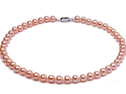 Natural Pink Pearl (JYX 7-8mm AAA Natural Pink Round Freshwater Pearl Necklace)