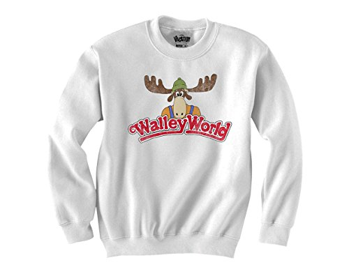 Ripple Junction National Lampoon's Vacation Wally World Logo Juniors Crewneck Fleece Large White