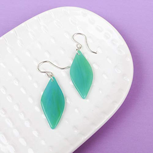 Aqua Stained Glass Flower Petal Colorful Dangle Drop Earrings For Women - Sterling Silver