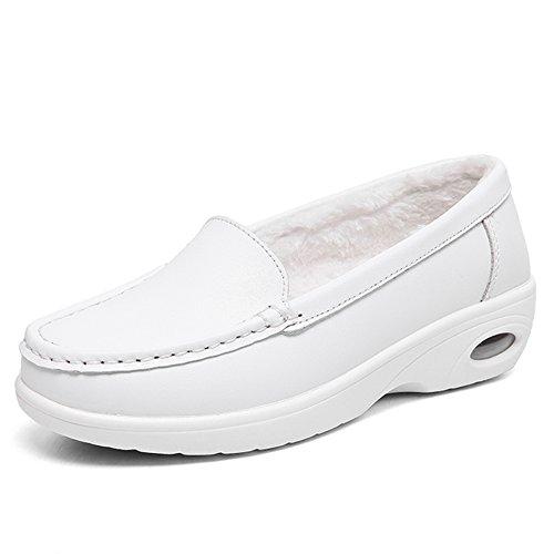 ZYEN-XZH776baisejiamian39 Women Spring Nurse Shoes Plush Faux Fur Breathable Nursing Sneakers Round Toe Wedges Work Loafers White 7.5 B(M) US by ZYEN