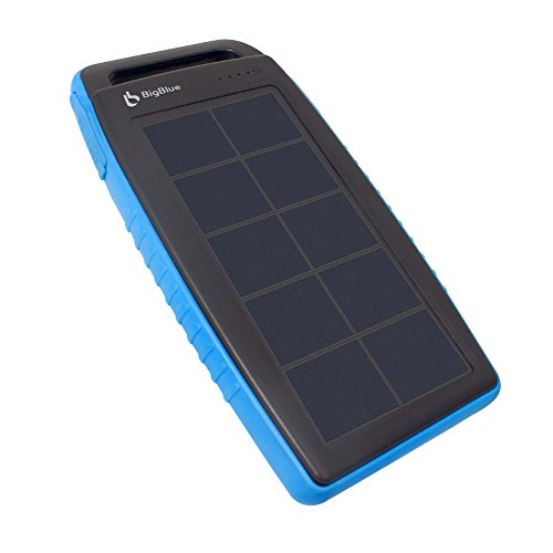 BigBlue Solar Battery Charger, 10000mAh IPX4 Waterproof Dual USB Ports Emergency Solar Powered Charger 6 LED Light Fast Charging Cellphone Tablet More Devices, Blue by BigBlue (Image #1)