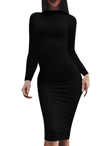 280b274aca0 LCNBA Women's Bodycon Long Sleeve Dress Sexy Casual Midi Pencil Dresses  Black