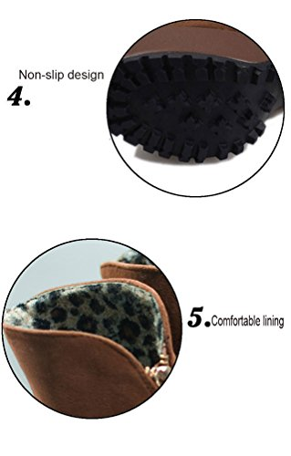 Mid Knitted Ankle Platform Boots Stiletto Shoe Women Gaorui Brown Knight Heel Calf High Knee THqUU8