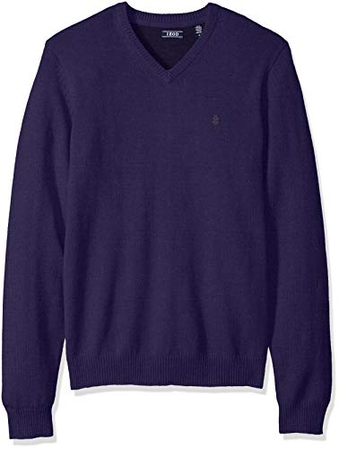 - IZOD Men's Premium Essentials Fine Gauge Solid V-Neck Sweater, Parachute Purple, XX-Large