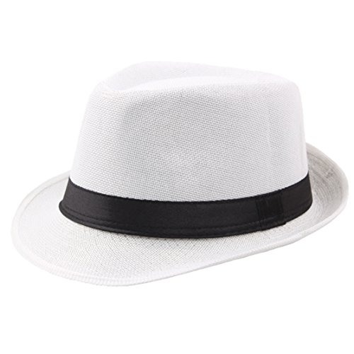 BABEYOND 1920s Panama Fedora Hat Cap for Men Gatsby Hat for Men 1920s Mens Gatsby Costume Accessories (White)