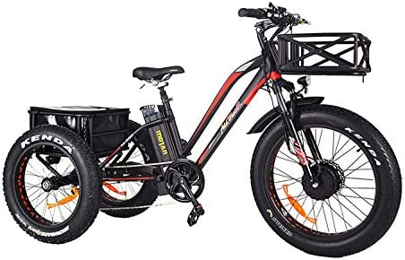 Addmotor Motan Electric Tricycle 24 Inch Fat Tire Electric Trike 3 Wheel Ebikes 750W Electric Bike 14.5Ah Lithium Battery Rear Basket Cargo M-350-P7 Electric Bicycle Cruise With Supension Fork Black