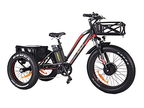Addmotor Motan Electric Tricycle 24 Inch Fat Tire Electric Trike 3 Wheel Ebikes 750W Electric Bike 14.5Ah Lithium Battery Rear Basket Cargo M-350-P7 Electric Bicycle Cruise With Supension Fork (Black)