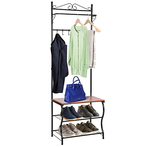 Entryway Bench with Coat Rack, MaidMAX Shoe Coat Rack Hall Tree with 3-Tier Shoe Bench Shelves, 5 Hooks & Hanging Bar for Entryway Storage, Black Finish (Trees Small Hall)