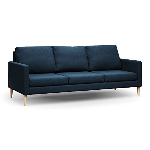 Campaign Steel Frame Brushed Weave Sofa  86 Inches  Midnight Navy With Solid Maple Legs
