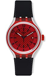 Swatch YES4008 Go Red Analog Date Dial Black Silicone Band Men Watch NEW