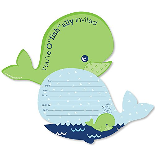 (Tale of A Whale - Shaped Fill-in Invitations - Baby Shower or Birthday Party Invitation Cards with Envelopes - Set of 12)