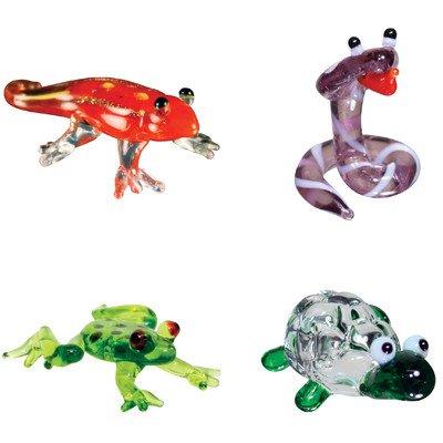 Miniature Gecko, Cobra, DartFrog, Tortoise Figurine Set