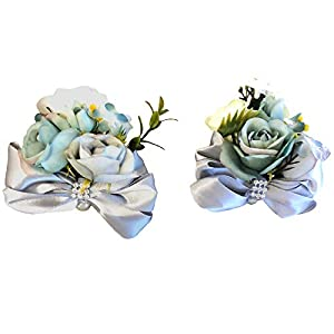 Abbie Home Prom Wrist Corsage Boutonniere Set for Suit Rose Flower Bow Rhinestone Décor for Party Wedding (Grey) 101