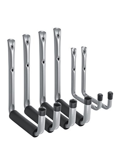 Heavy Duty Jumbo Arm Garage Storage / Utility Hooks with EVA Protector by Ihometech, Wall Mount Garage Hanger & Organizer for hanging Ladders and tools | (6 Pack - Gray) (Storage Wall Hanging Tool)