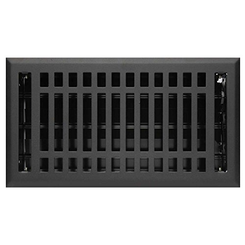 Naiture 4'' X 12'' Steel Louvered Floor Register with Damper or Lever Contemporary Style, Black Finish by SH