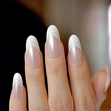 24 Stiletto falsas uñas postizas blanco claro francés uñas purpurina acrílico UK: Amazon.es: Belleza