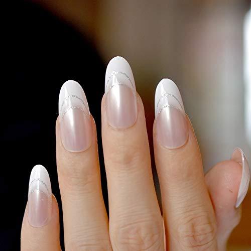 24 Stiletto falsas uñas postizas blanco claro francés uñas ...