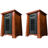 Haier 3 Heat Setting 1500W Infrared Zone Heater with Dark Oak Finish (2 Pack)