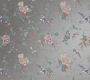 Metallic Foil Wallpaper With Birds In Silver Pink Purple Green