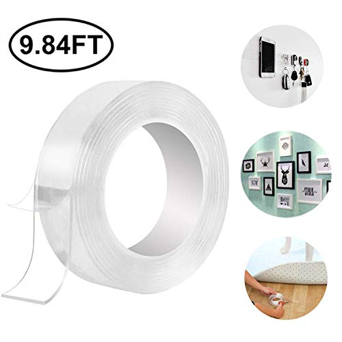 Washable Adhesive Transparent Tape Nano Tape,Reusable Traceless Tape, Adhesive Silicone Tape,Free to Remove, Can Stick to Cellphone,Pads,Keys, Kitchen Tools,Stick to Glass, Metal, Kitchen (2mm) (3M)