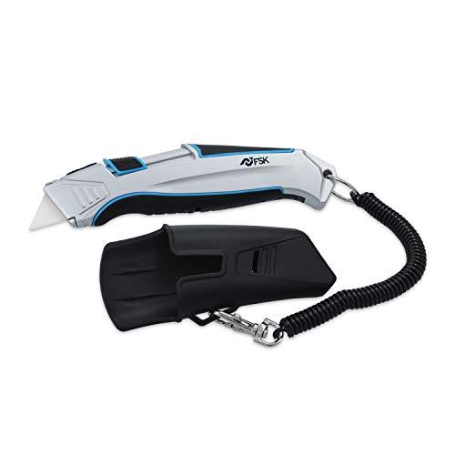 ferrestock fsktwc001COLTELLO auto-retractil con cavo di sicurezza e custodia per cintura, Grigio E Blu