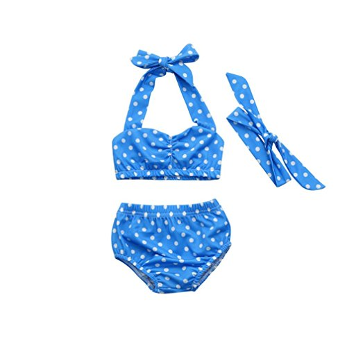 G-real Infant Baby Girls Kids Cut Bikini Set Swimwear Halter Ruched Polka Dot Tops+Bottoms+Headband For 6M-4T (Blue, - Real Bikini