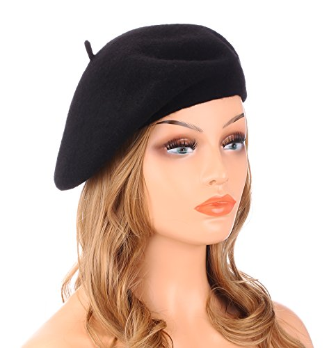 Wheebo Wool Beret Hat Solid Color French Style Winter Warm Cap For Women Girls Black
