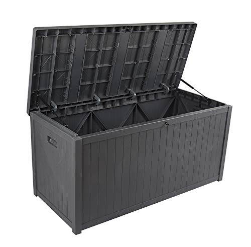 Deck Boxes SUNVIVI OUTDOOR Large Deck Box, Patio Storage Container Box, Resin Outdoor Box for Patio 120 Gallon (Grey) outdoor deck boxes